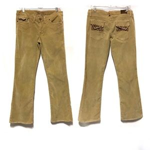 Bella Dahl Corduroy Flare Pants Embroidery Tan 31